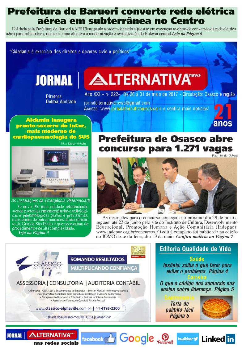 CAPA jornal ALTENATIVA NEWS ed 222 maiol 2017cópia