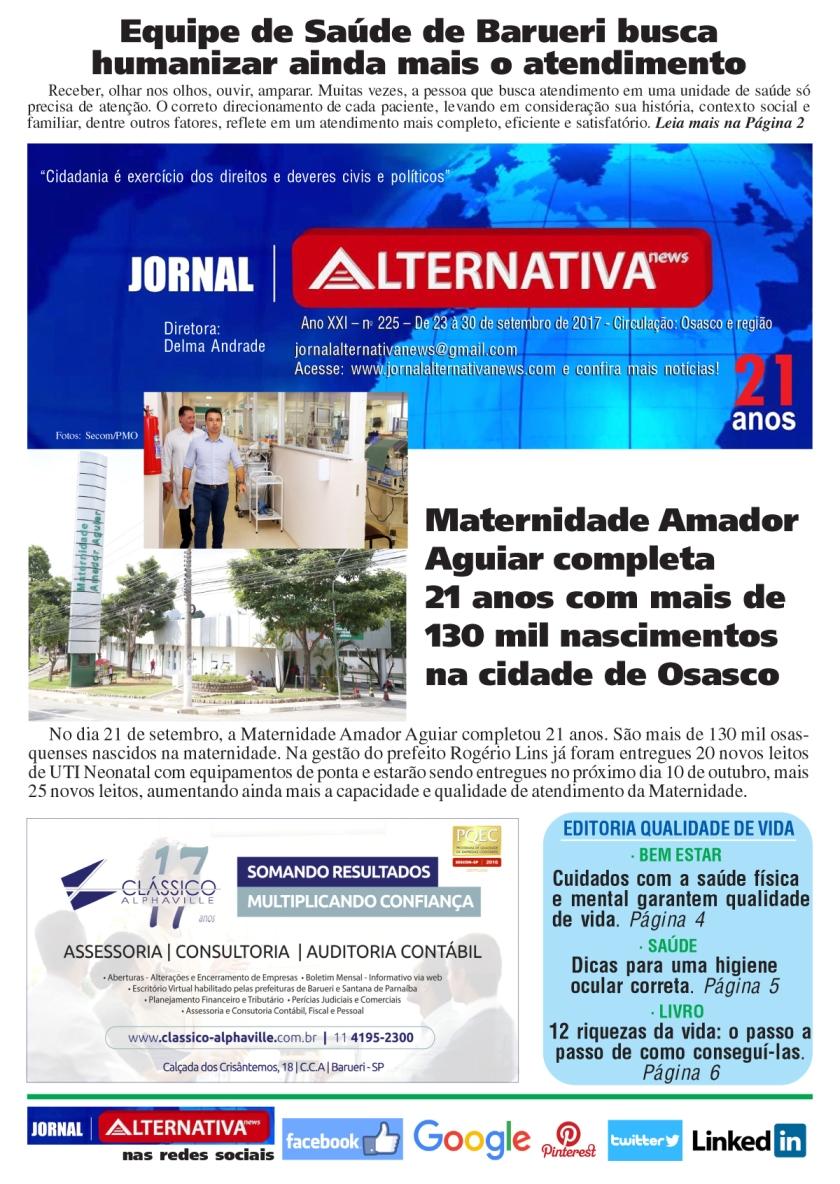 CAPA jornal ALTENATIVA NEWS ed 225 set 2017cópia
