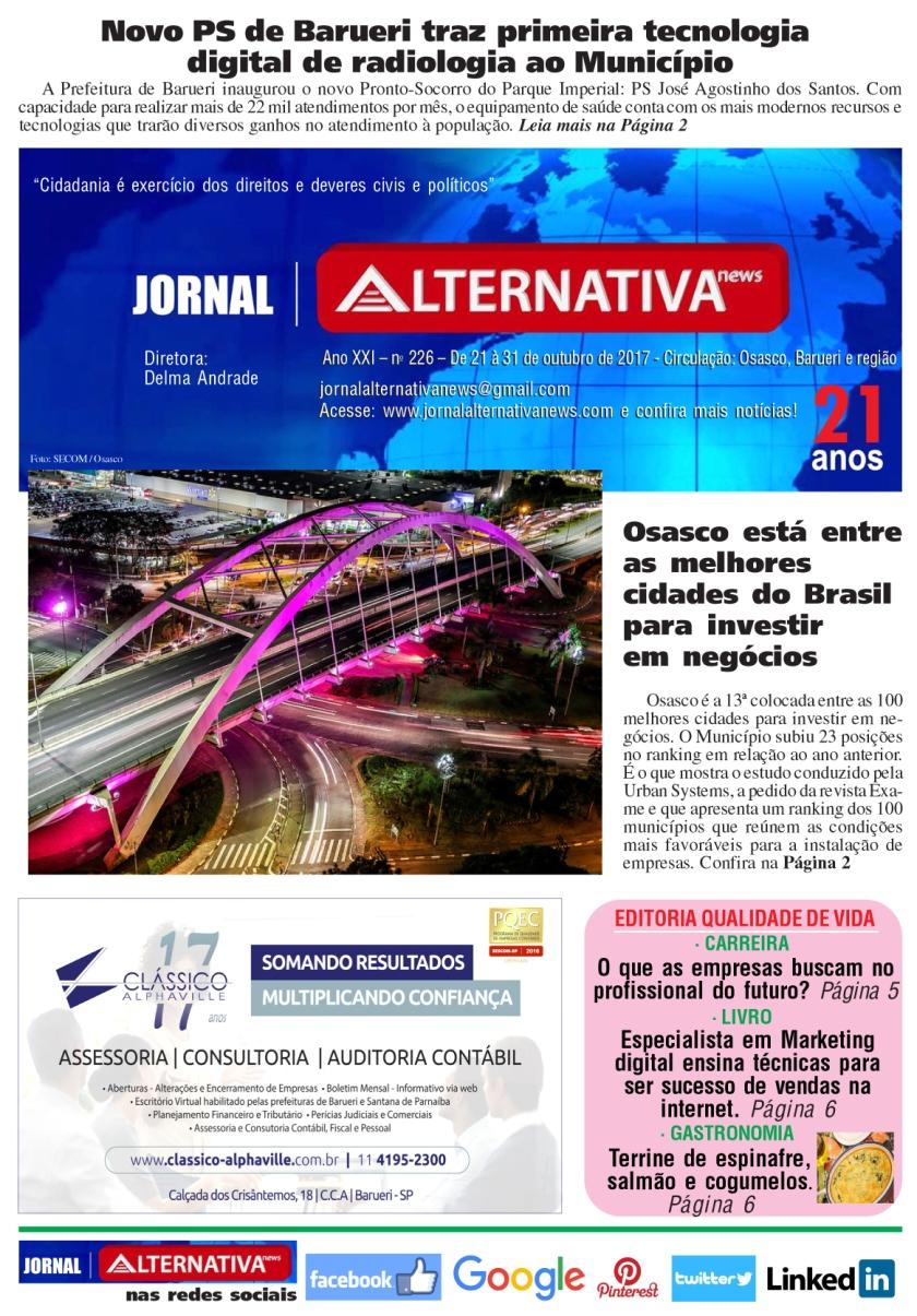 capa Jornal ALTERNATIVA NEWS ED 226