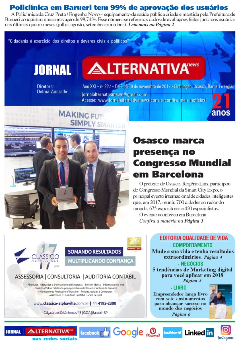 capa jornal ALTENATIVA NEWS ed 227 nov 2017cópia